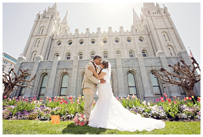 Tongan wedding couple at Salt Lake City LDS Temple